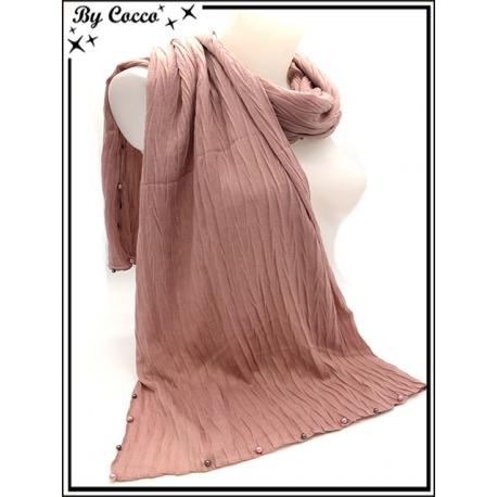 Foulard - Bordures perles argents / rose - Rose poudré