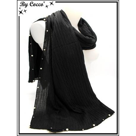 Foulard - Bordures perles argents / blanches - Noir