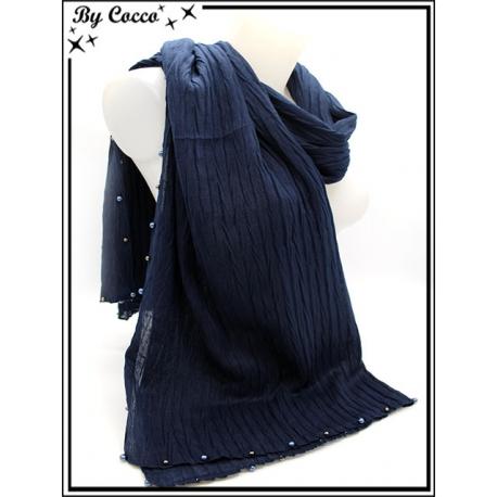 Foulard - Bordures perles argents / bleu - Bleu marine