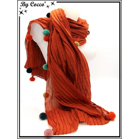 Foulard - Accordéon - Pompons multicolor - Orange