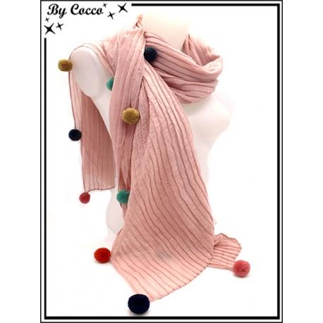 Foulard - Accordéon - Pompons multicolor - Rose poudré