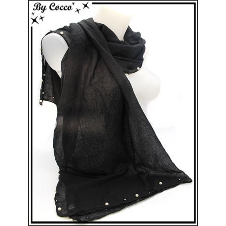 Foulard - Bordures perles noires / nacrées - Noir