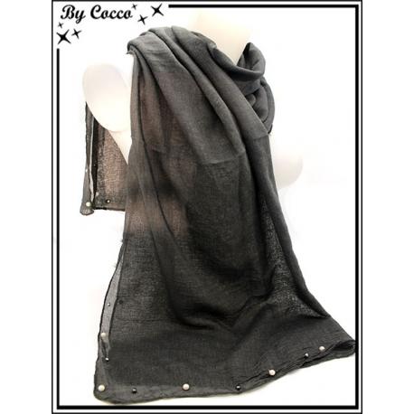 Foulard - Bordures perles noires / nacrées - Gris