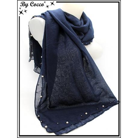 Foulard - Bordures perles noires / nacrées - Bleu marine