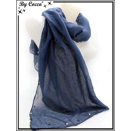 Foulard - Bordures perles noires / nacrées - Bleu