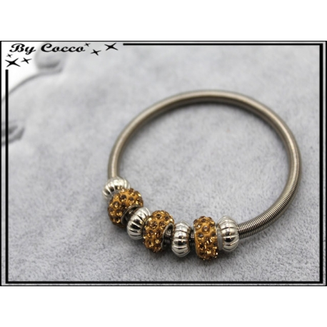 Bracelet - Stella Green - Ressort - Perles strass - Ocre