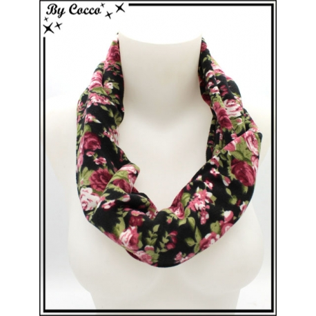 Tour de cou - Fleuri rose - Fond Noir