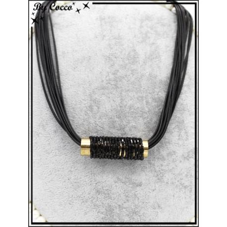 Collier - Tube perles enroulées - Noir / Doré