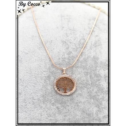 Collier - Arbre de vie - Petit cercle - Strass - Doré rosé