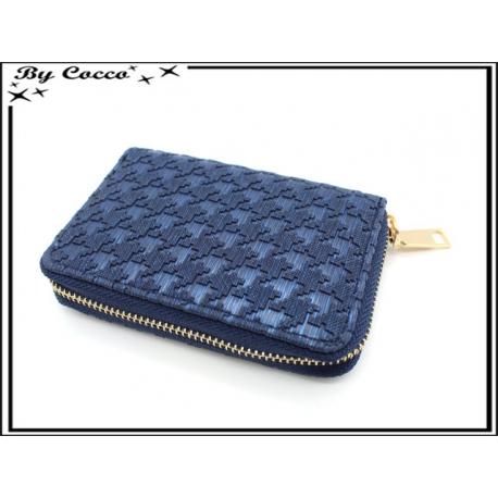 Porte-monnaie simple - Petit format - Style pied de poule - Bleu marine