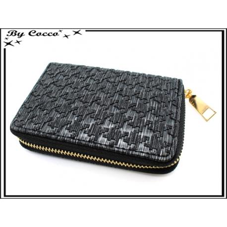 Porte-monnaie simple - Petit format - Style pied de poule - Noir