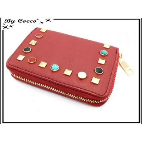 Porte-monnaie simple - Petit format - Clous de couleurs - Rouge