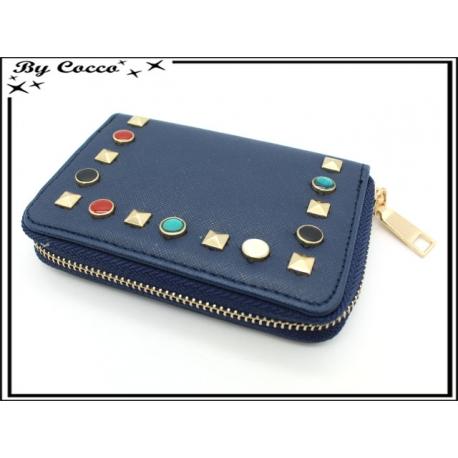 Porte-monnaie simple - Petit format - Clous de couleurs - Bleu marine