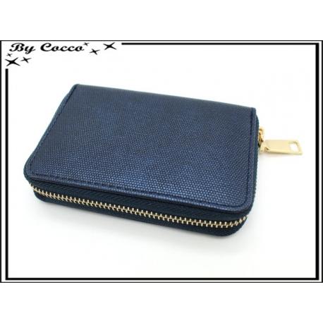 Porte-monnaie simple - Petit format - Brillant - Bleu marine