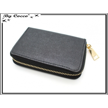 Porte-monnaie simple - Petit format - Brillant - Noir