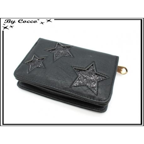 Porte-monnaie simple - Petit format - Etoiles - Noir