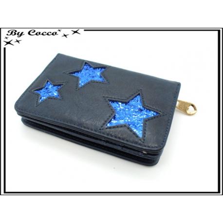 Porte-monnaie simple - Petit format - Etoiles - Bleu marine / Bleu roi