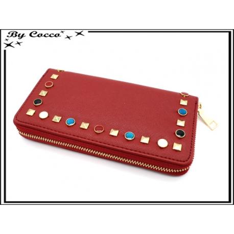 Porte-monnaie simple - Clous de couleurs - Rouge bordeaux