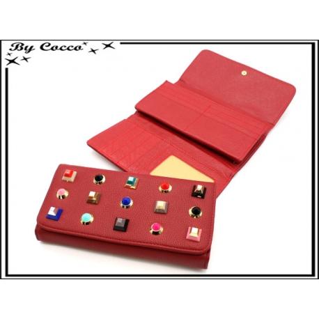 Porte-monnaie - Clous triangles - Rouge