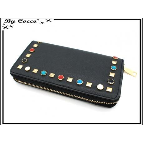Porte-monnaie simple - Clous de couleurs - Noir