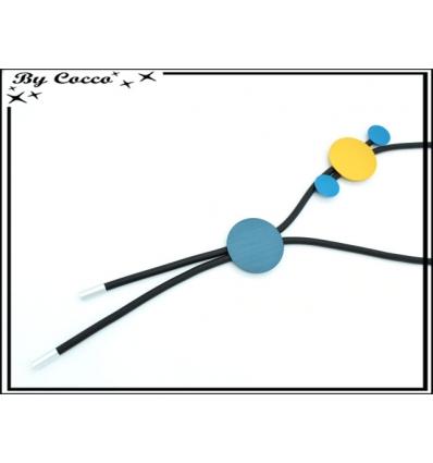 Sautoir - Aspect caoutchouc - Ronds colorés - Bleu / Doré
