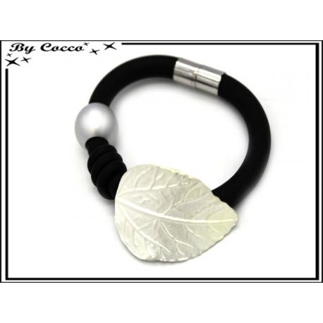 Bracelet - Aspect caoutchouc - Feuille - Perle - Argent