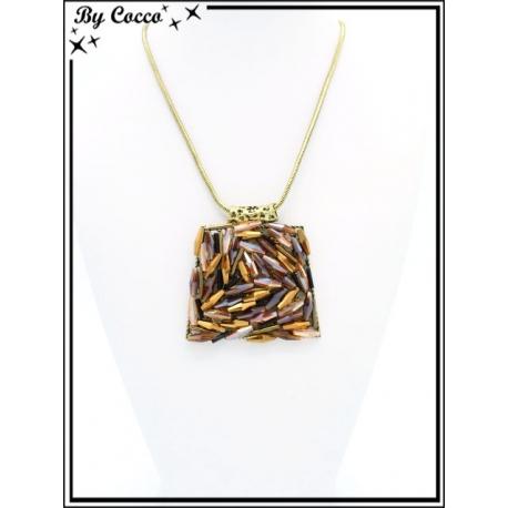 Collier - Pendentif trapèze - Perles tons orangés / cuivrés