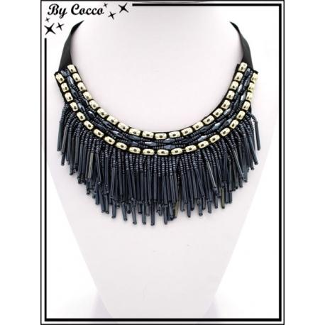Collier - Col perles pendantes - Bleu nuit / Doré