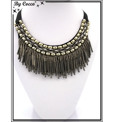 Collier - Col perles pendantes - Noir / Doré