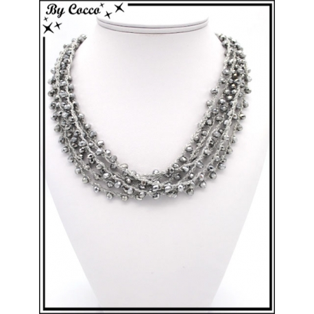 Collier - Multirangs - Gris / Argent