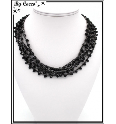 Collier - Multirangs - Noir / Argent