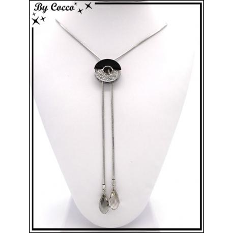 Collier - Double pendentif - Rond noir / strass - Argent