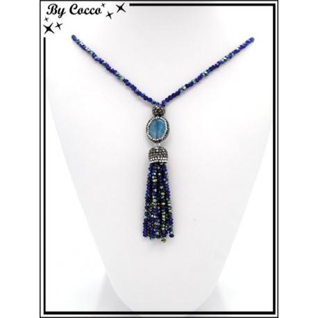 Sautoir - Perles - Strass - Bleu roi