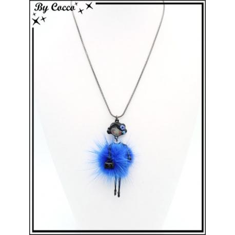 Collier - Poupée pompon - Bleu