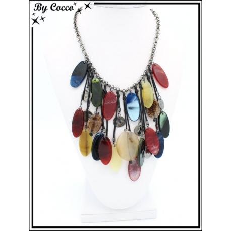 Collier - Piecettes ovales - Résine - Multicolor