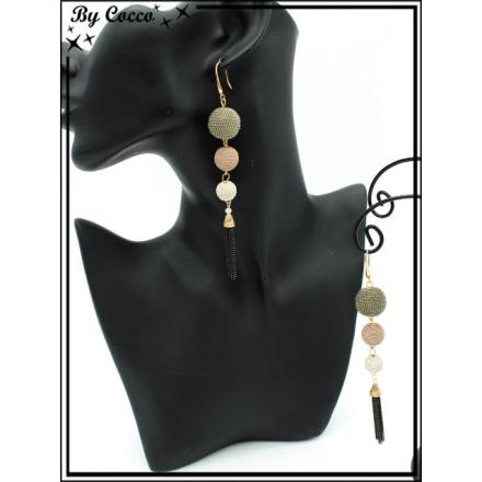 Boucles d'oreilles - 3 perles - Pompon chaînettes - Noir