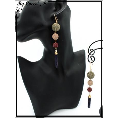 Boucles d'oreilles - 3 perles - Pompon chaînettes - Bleu marine