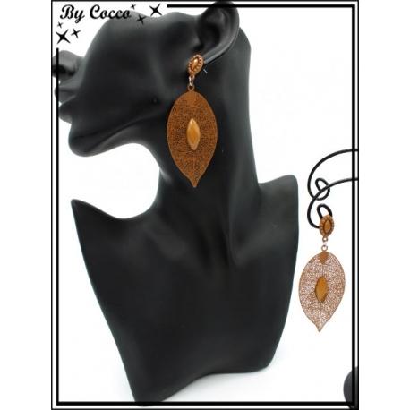 Boucles d'oreilles - Feuille filigranne ajourée - Perle - Camel