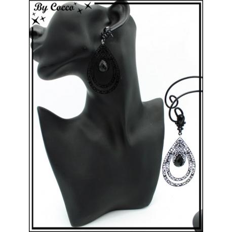 Boucles d'oreilles - Double goutte filigranne ajourée - Perle - Noir