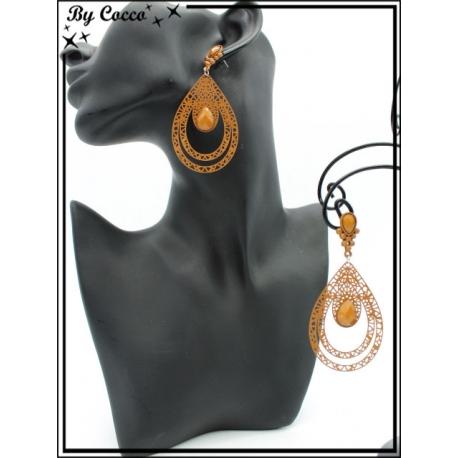 Boucles d'oreilles - Double goutte filigranne ajourée - Perle - Camel