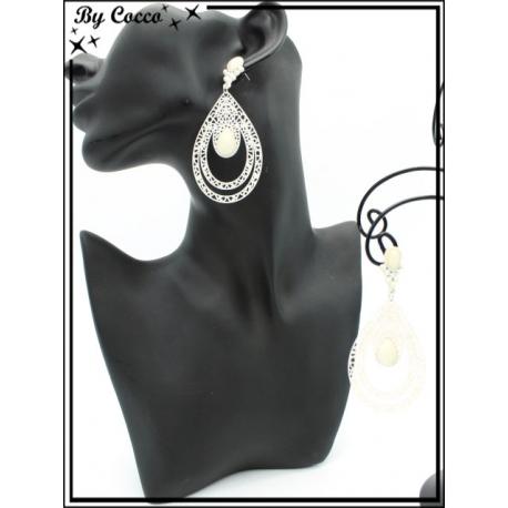 Boucles d'oreilles - Double goutte filigranne ajourée - Perle - Ecru