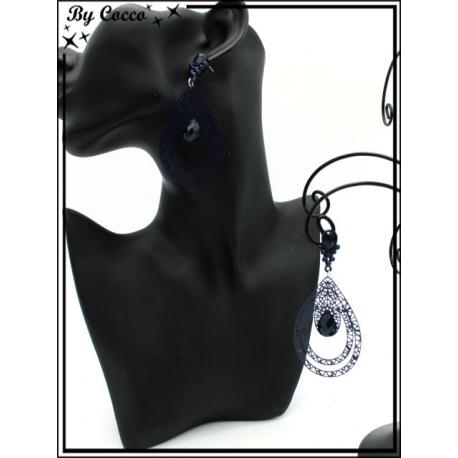 Boucles d'oreilles - Double goutte filigranne ajourée - Perle - Bleu marine