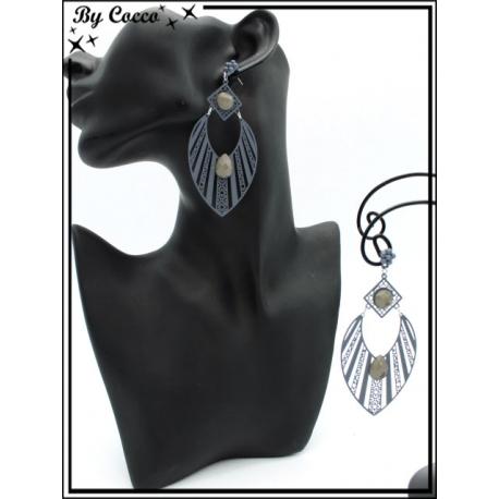 Boucles d'oreilles - Goutte - rayures filigranne ajourée - Perle - Gris clair