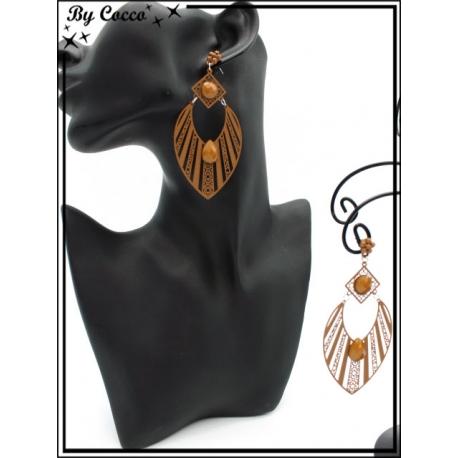 Boucles d'oreilles - Goutte - rayures filigranne ajourée - Perle - Camel