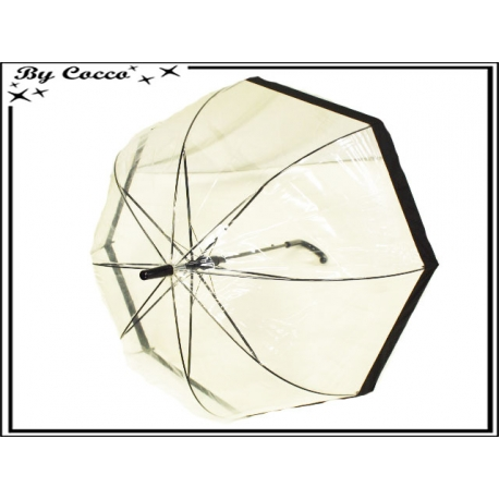 Parapluie - Canne - Cloche - Transparent - Bordure noire