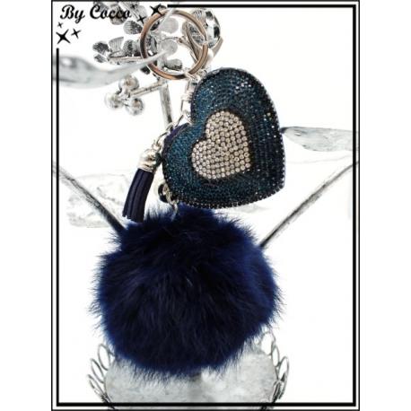 Bijoux de Sacs - Strass - Coeur - Pompon - Bleu marine