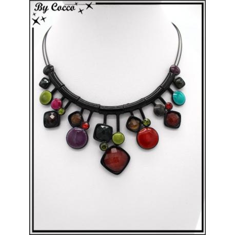 Collier - Mélange perles rondes / carrées - Multicolor