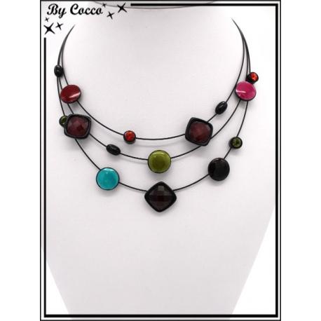 Collier - Trois rangs - Mélange perles rondes / carrées - Multicolor