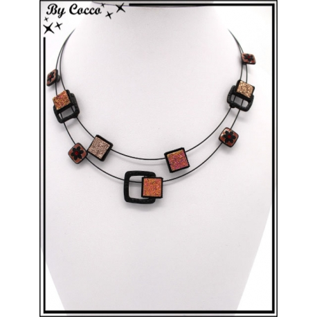 Collier - Deux rangs - Mélange perles carrées - Tons rosés
