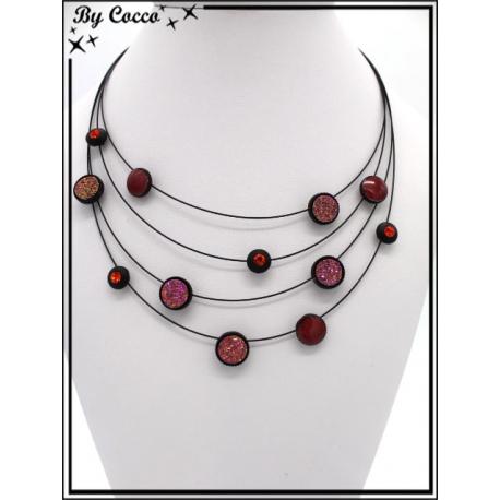 Collier - Trois rangs - Mélange perles rondes - Tons rouge